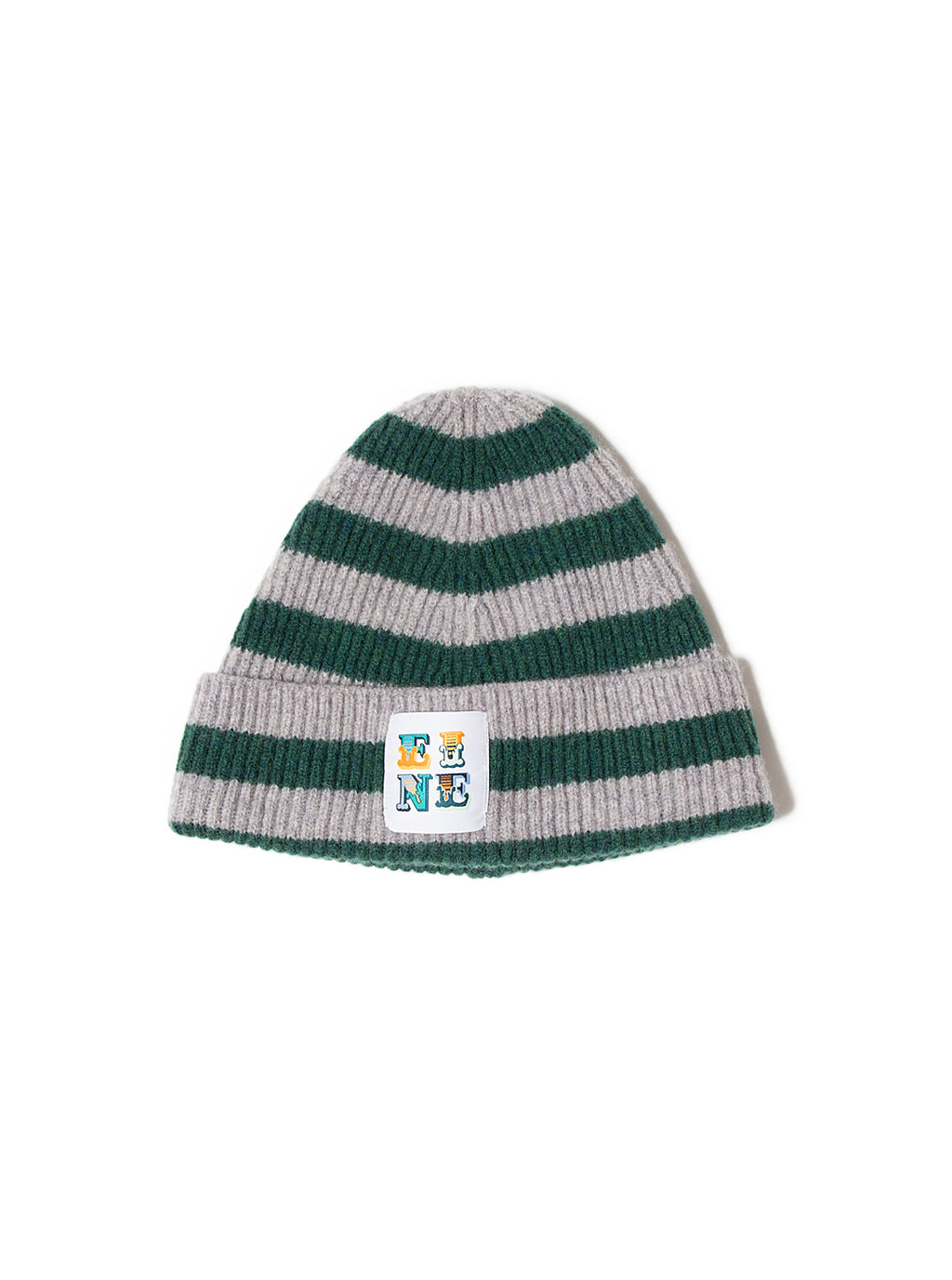 EINE Stripe Wool Beanie - Grey Green Sample