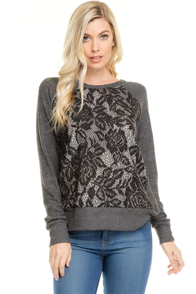 Lace Sweater Front Pullover - shopcoa