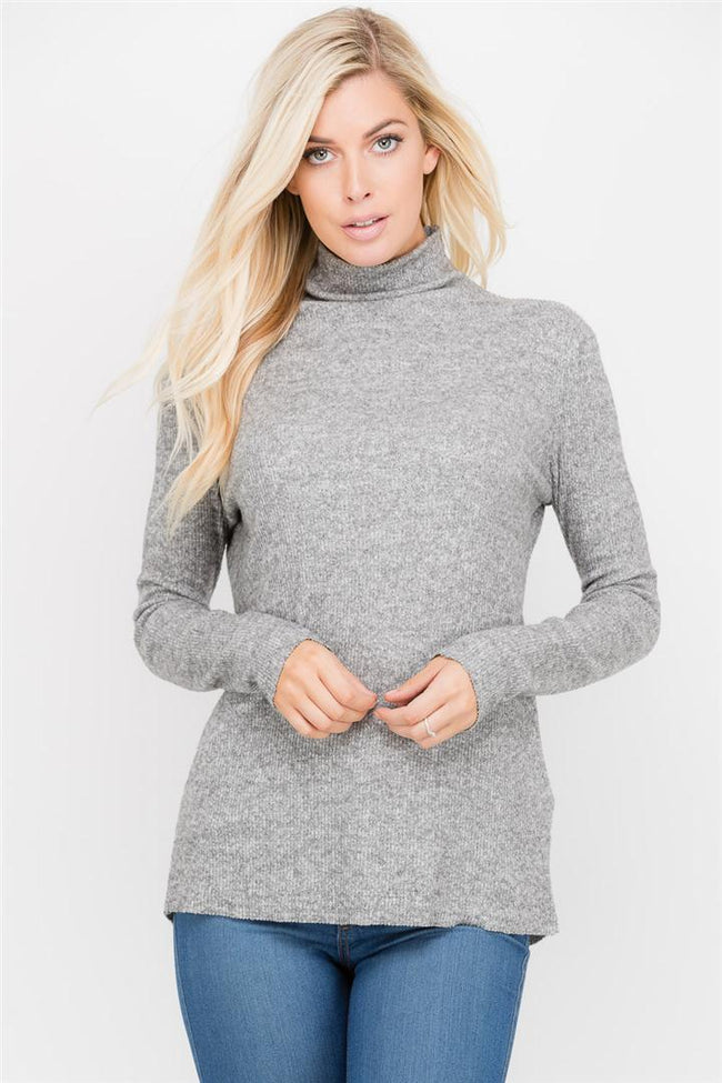 Linear High Neck Sweater - shopcoa