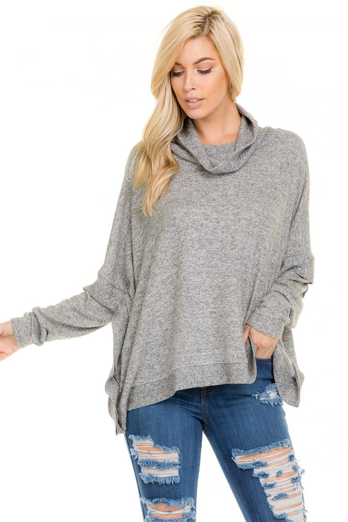 Poncho Cowl Neck Sweater