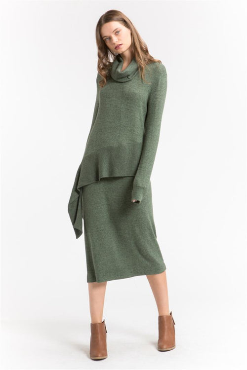 Side Knotted Cowl Dress