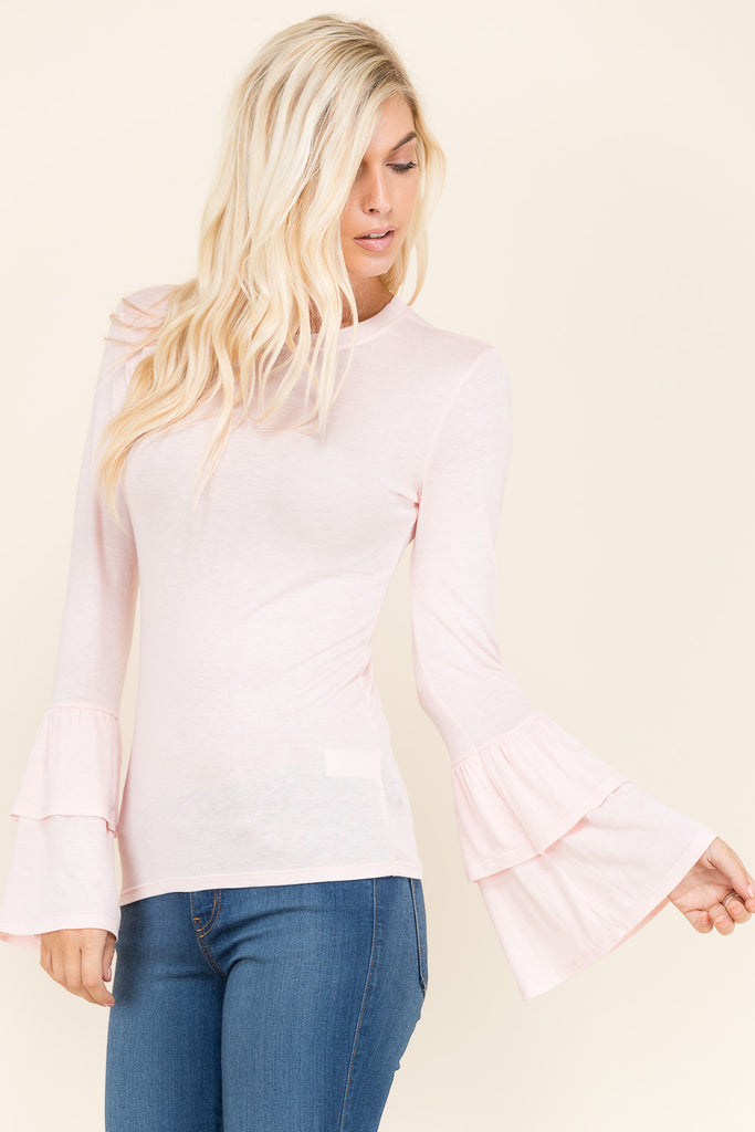 Double Ruffle Long Sleeve Top