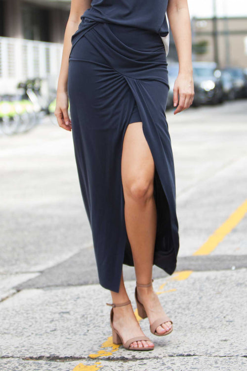 Cascade Draped Midi Skirt