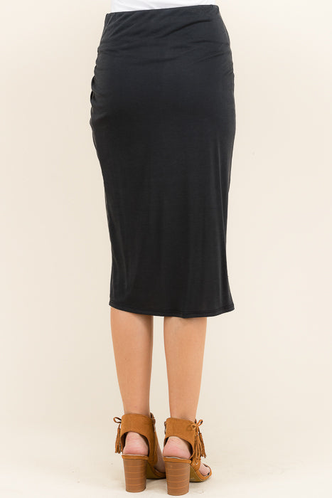 Side Knotted Midi Skirt