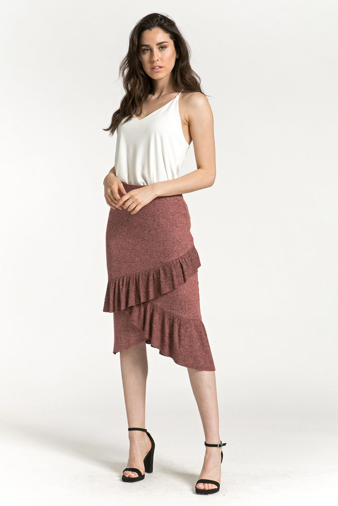 Asymmetric Ruffle Soft Spun Skirt