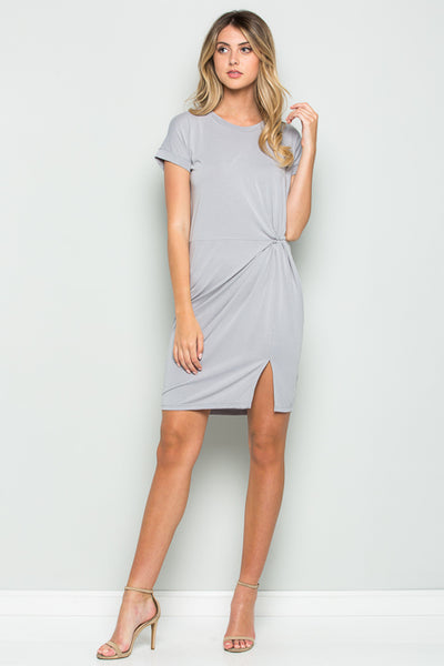 Knotted Roll Up Dress - shopcoa