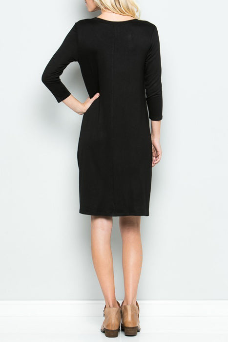 Side Knot 3/4 Sleeve Dress