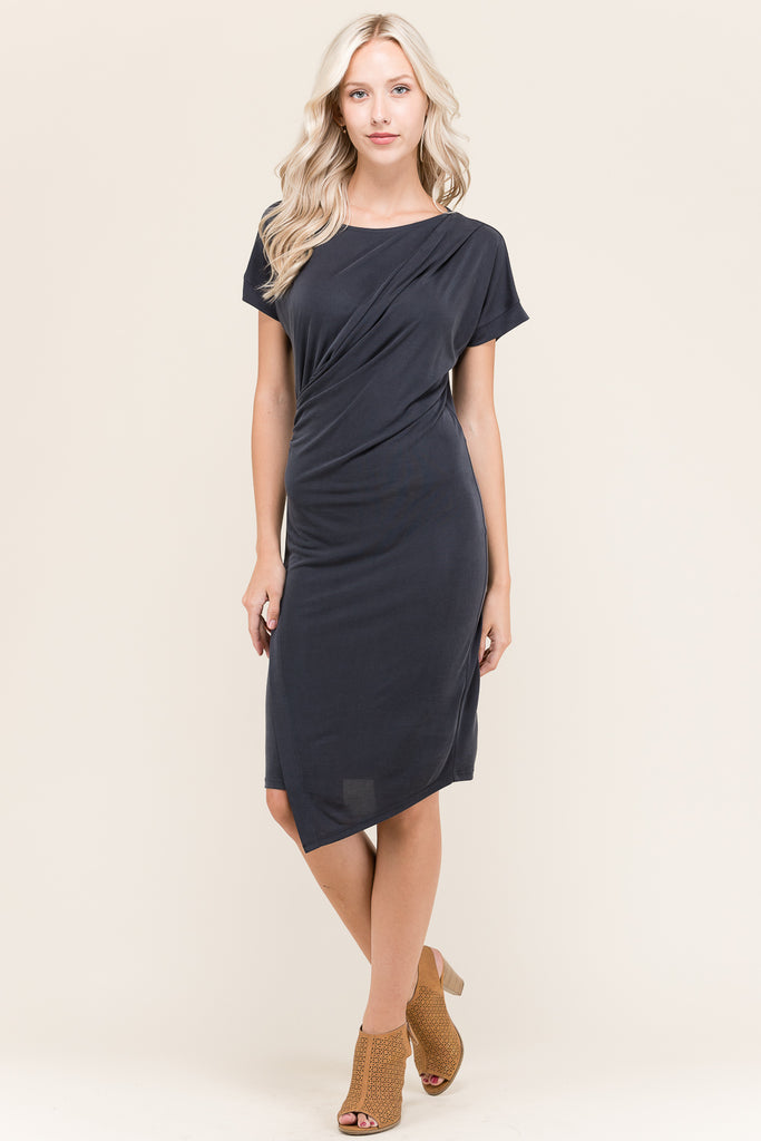 Pleated Shoulder Short Sleeve Dress