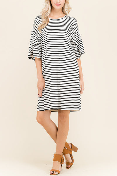 Ponie Ruffle Sleeve Dress - shopcoa