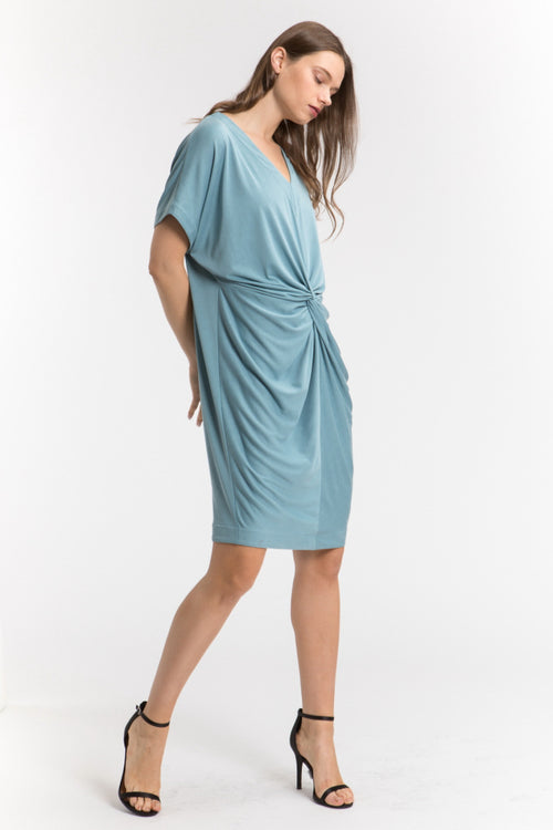 Center Knot Short Sleeve Dress