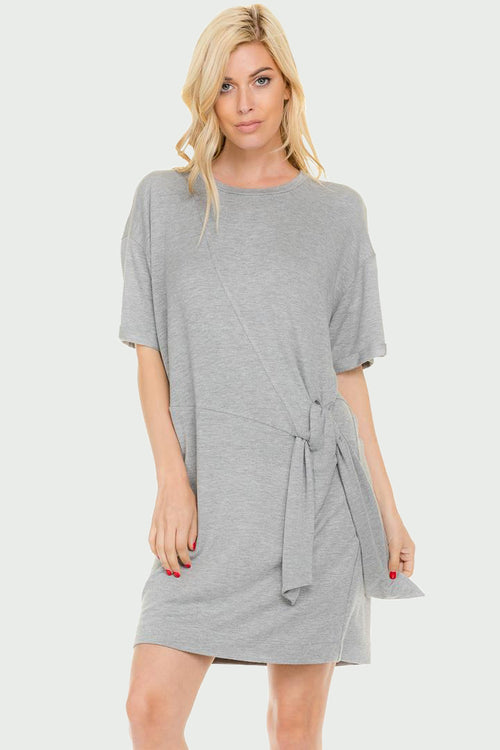 Side Tie T-shirt Dress
