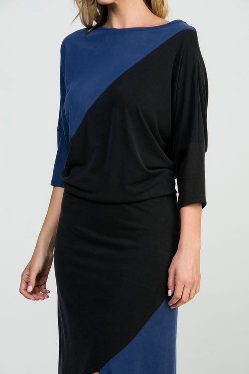 ASYMMETRICAL COLOR BLOCK DRESS