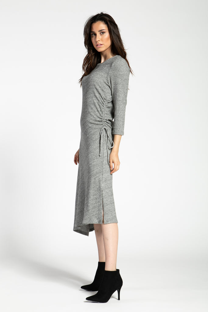 ONE SIDE CINCHED SOFT RIB DRESS