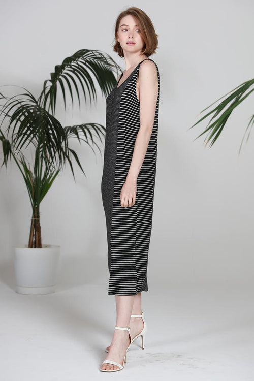 CONTRASTED STRIPED SLEEVELESS DRESS