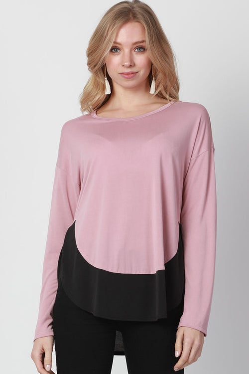 ROUND HEM COLOR BLOCK TOP