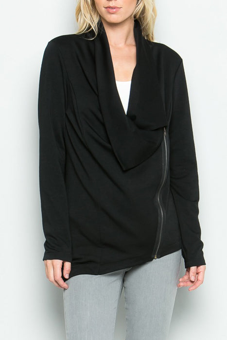 Asymmetrical Cowl Neck Zip Jacket