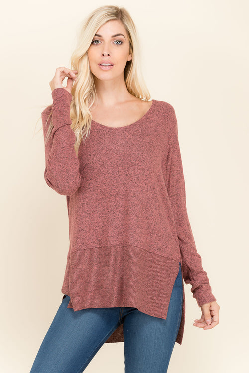 High Low Sweater Knit Top