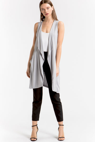 Open Front Long Vest - shopcoa