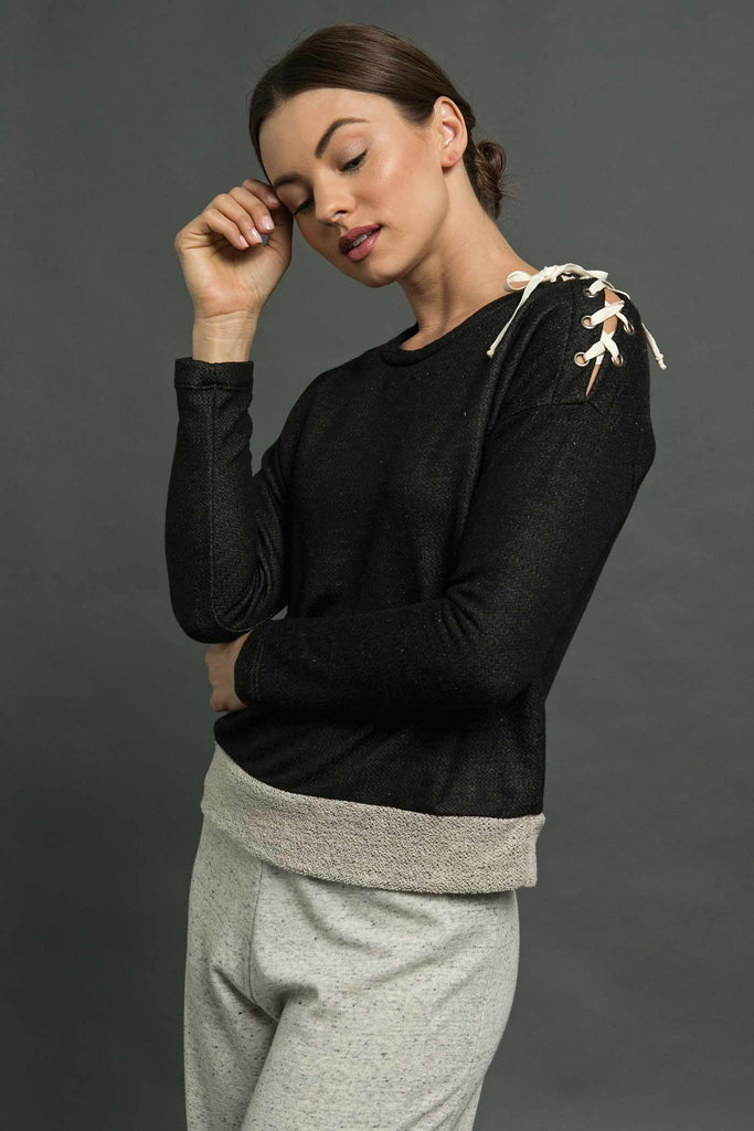 One Shoulder Tie Pullover