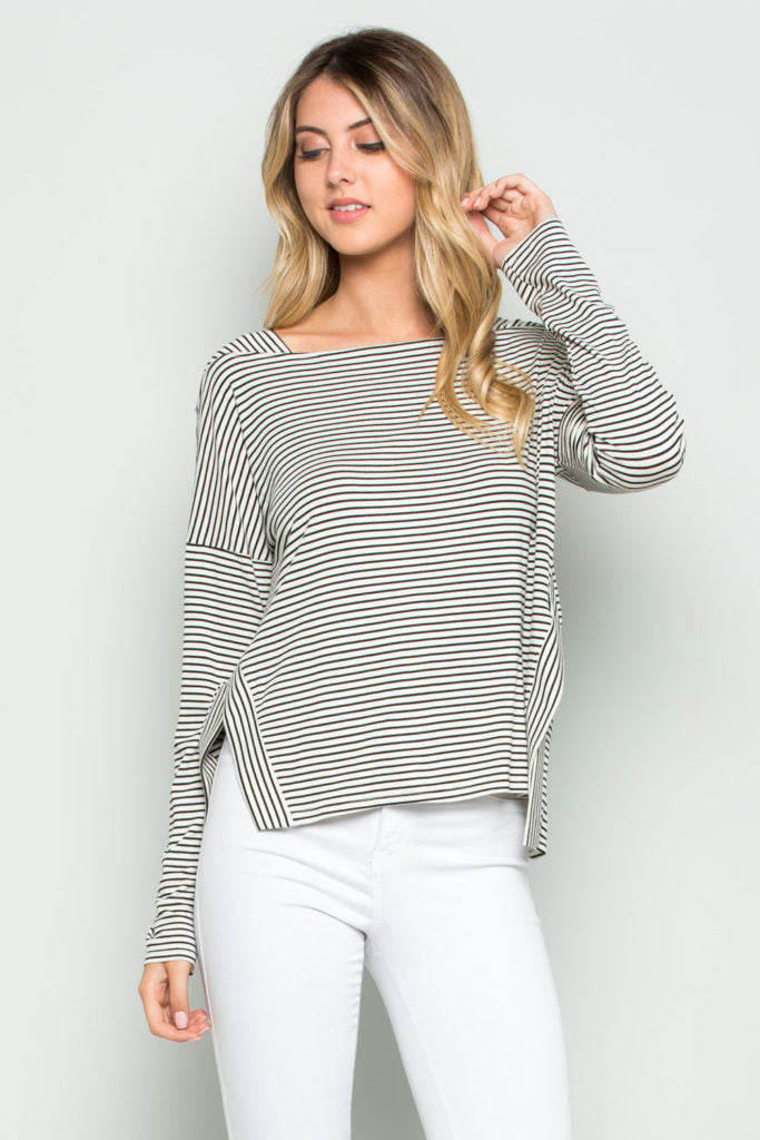 Westward Stripe Detailed Long Sleeve Top