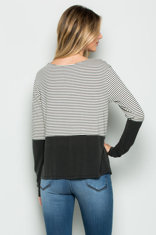 """Jaine"" Color Block Stripe Top"