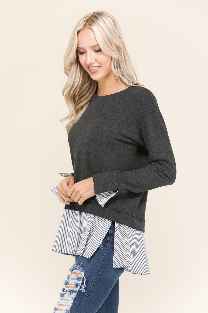 Long Sleeve Slit Sweater Top