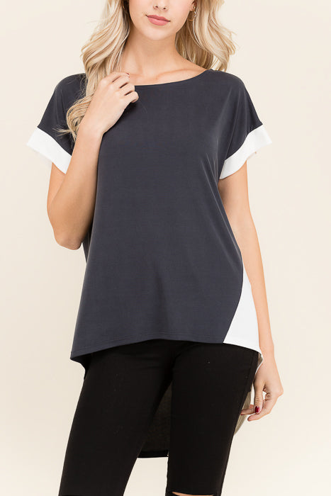 High Low Color Block Short Sleeve - shopcoa