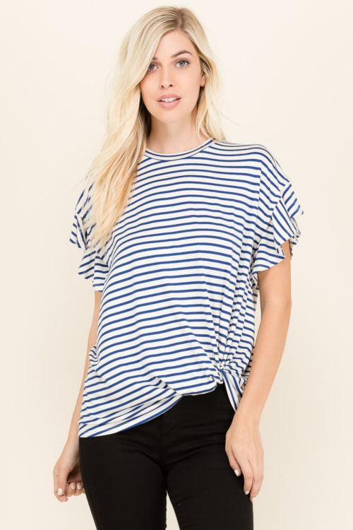 Ruffle Short Sleeve Top - shopcoa