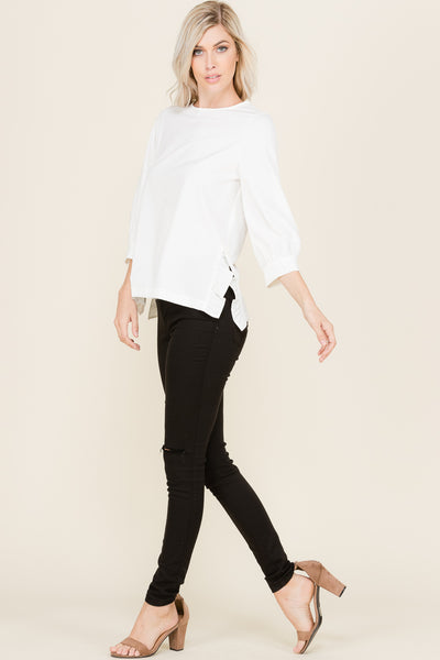 Side Slit with Ruffle Blouse