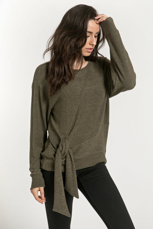 SIDE TIE SOFT SPUN PULLOVER