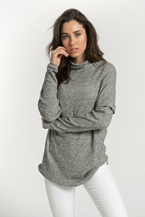 MOCK NECK SOFT SWEATER