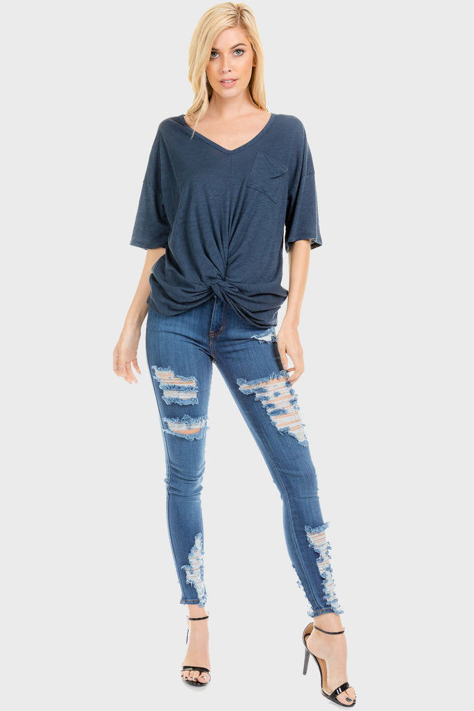Center Knotted Pocket T Shirt