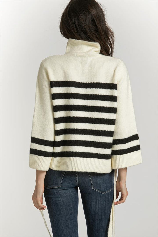 STRIPED SWEATER SIDE LACE UP - shopcoa