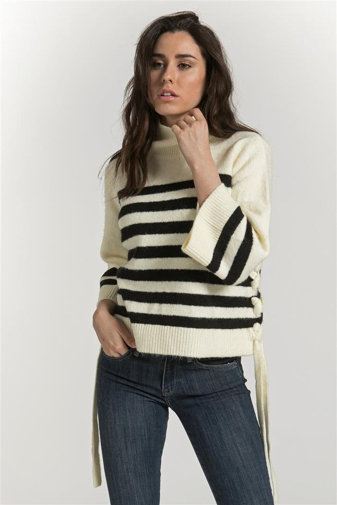 STRIPED SWEATER SIDE LACE UP