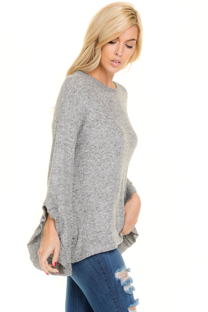 Wide Ruffle Sleeve Sweater