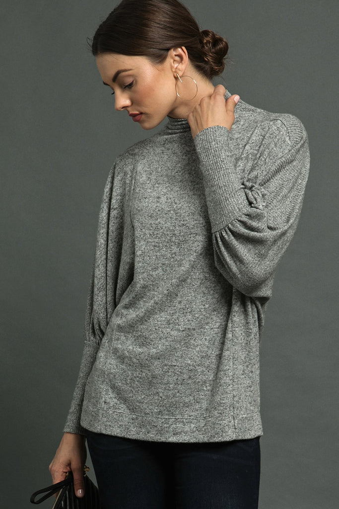 Mock Neck Blouson Sweater