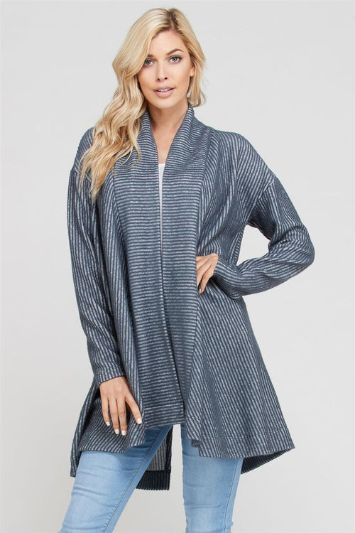 Brush Rib Longline Cardigan - shopcoa