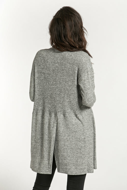 Back Slit Brushed Cardigan