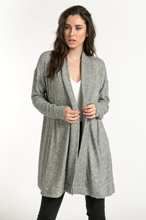 Back Slit Brushed Cardigan - shopcoa