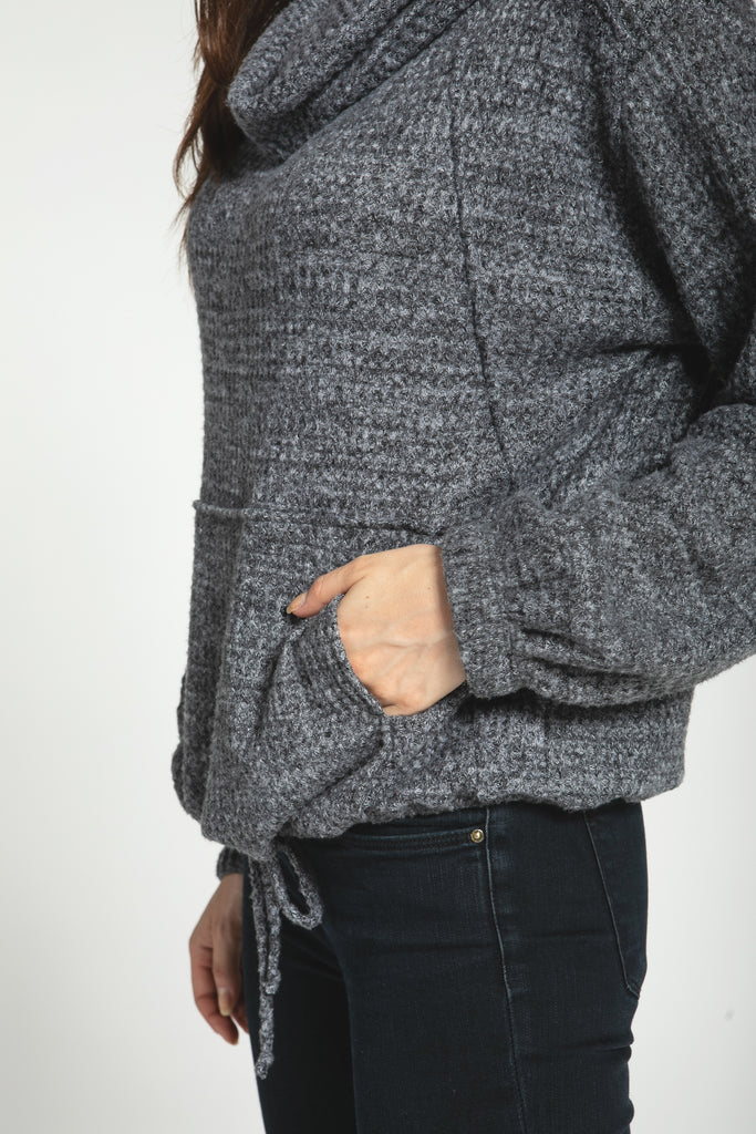 Brushed Waffle Jumper with Draw Strings