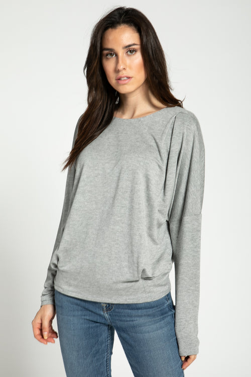 Pleated Detail Sweatshirt - shopcoa