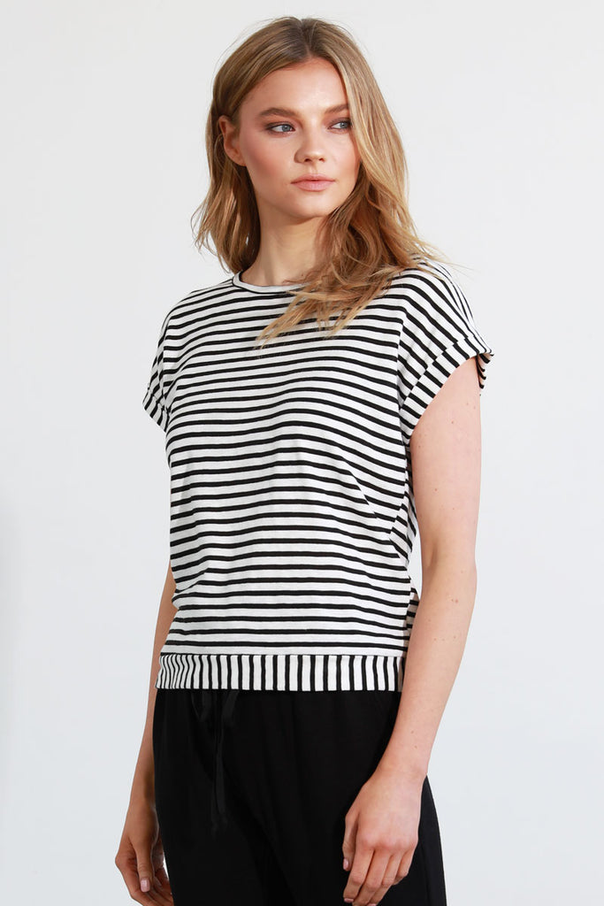 Cotton Stripe Split Back with Tie