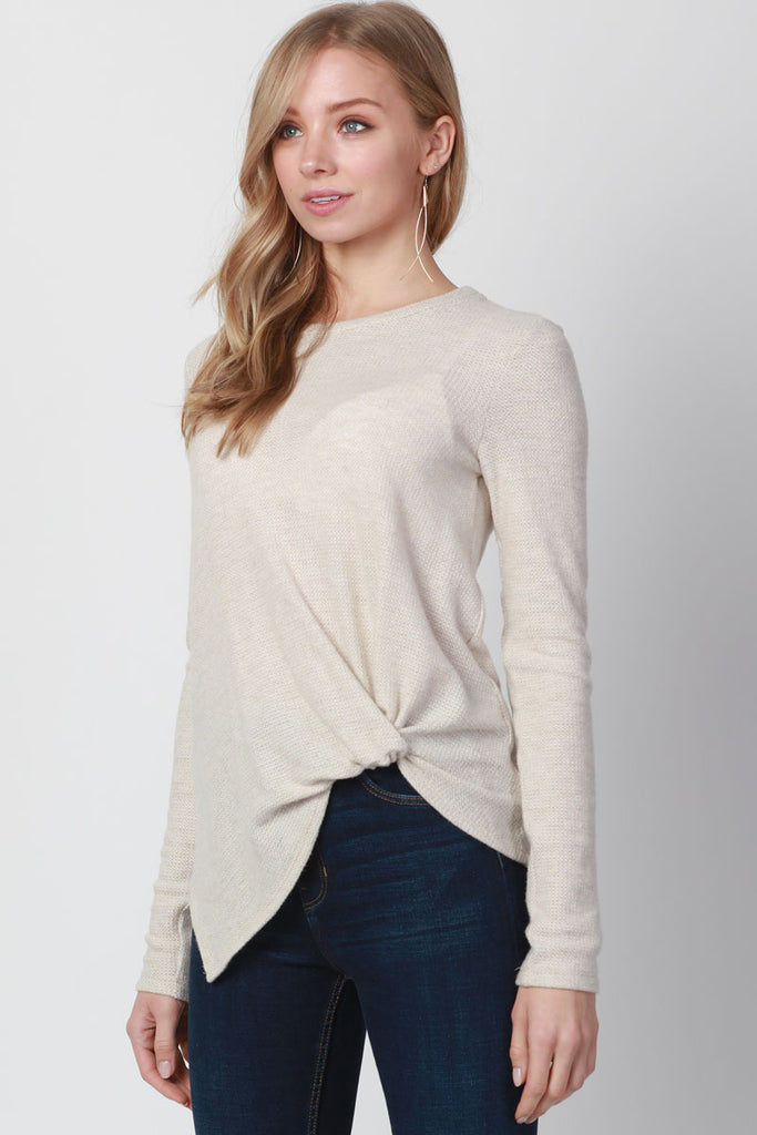 POINT SIDE KNOTTED SOFT PULLOVER TOP