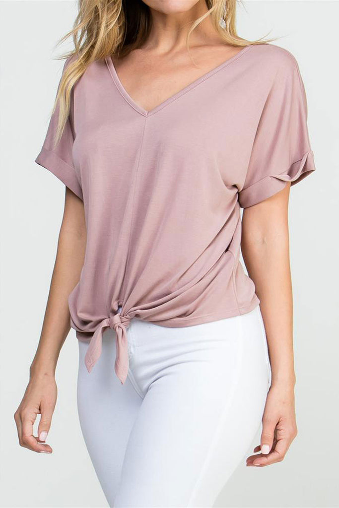 V-Neck Knotted S/S Top