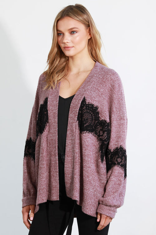 LASH LACE INSERTED CARDIGAN