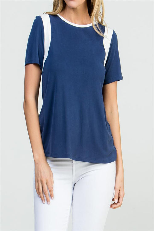 COLOR BLOCKED SHORT SLEEVE TOP
