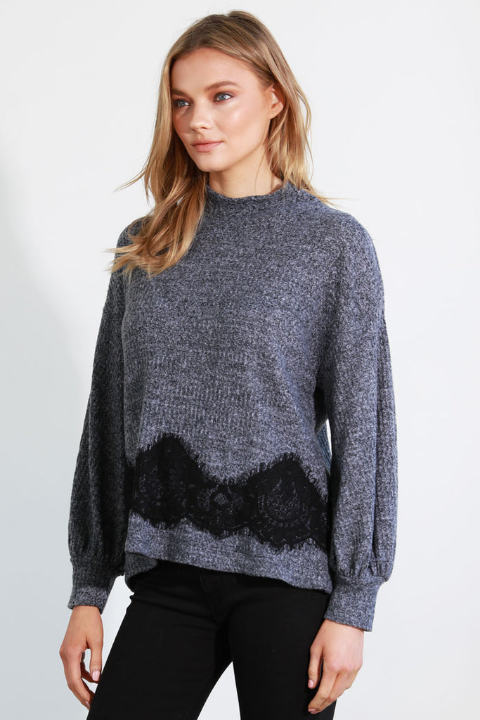 LACE INSERTED SWEATER