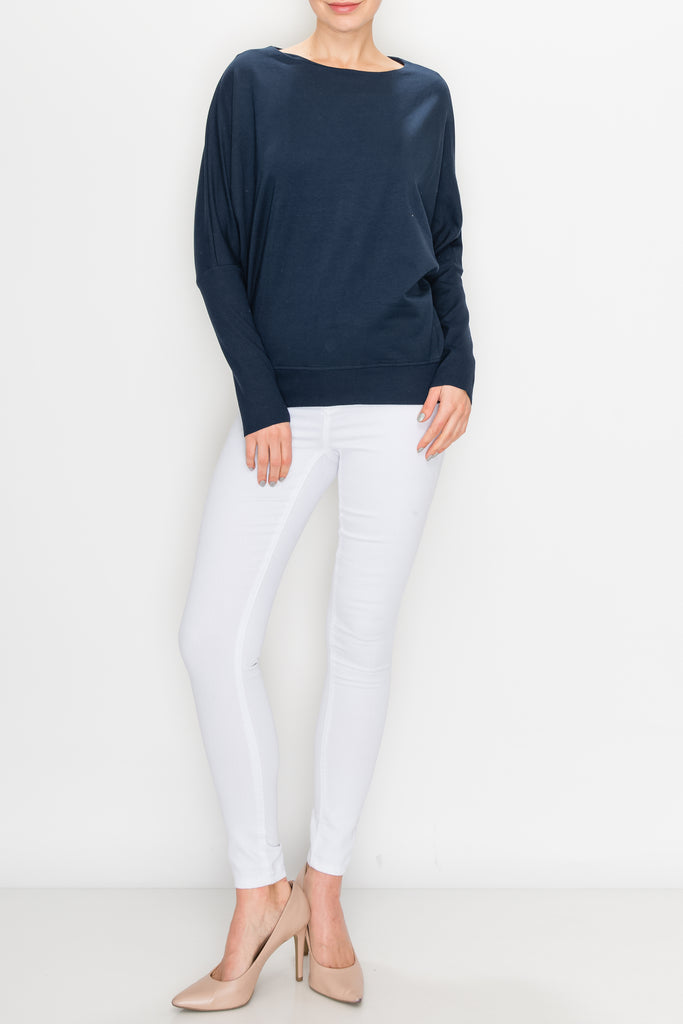 CONTRAST OVERSIZED DOLMAN SLEEVE TOP
