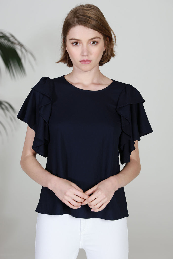 DOUBLE RUFFLED SLEEVE BLOUSE