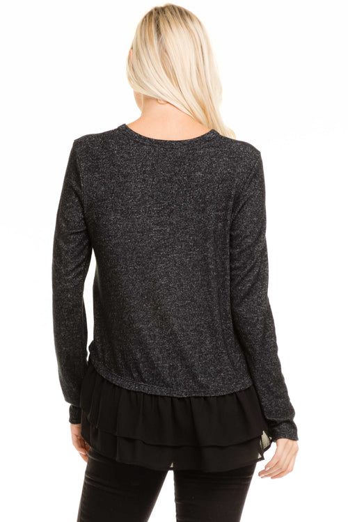 Ruffle Hem Soft Sweater